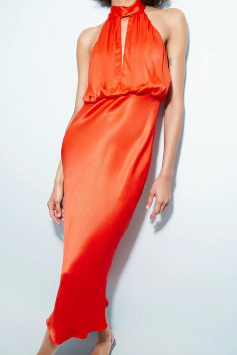 Vestido de satén de seda con cuello halter largo sexy de color sólido de moda al por mayor nihaojewelry NHAM415259's discount tags