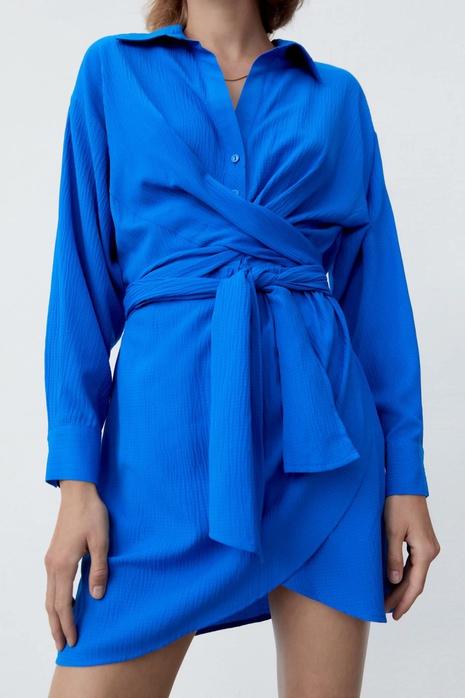 nueva moda de color sólido cinturón mini vestido de solapa al por mayor nihaojewelry NHAM415272's discount tags