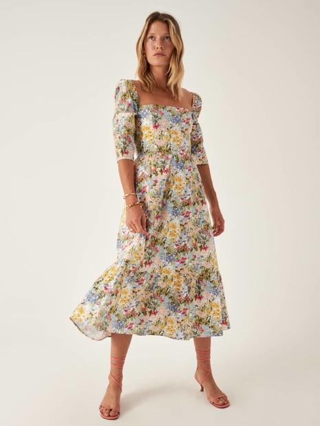 vestido de cuello cuadrado de cintura fina con estampado de pintura floral retro al por mayor nihaojewelry NHAM415277's discount tags