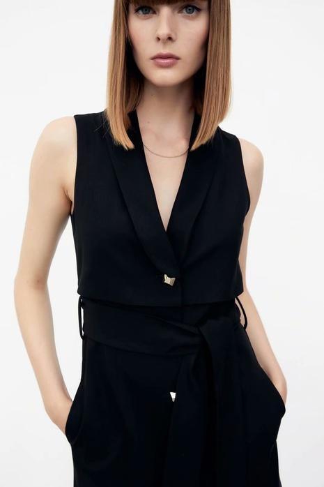 traje simple cuello cinturón chaleco cruzado chaleco vestido al por mayor nihaojewelry NHAM415284's discount tags