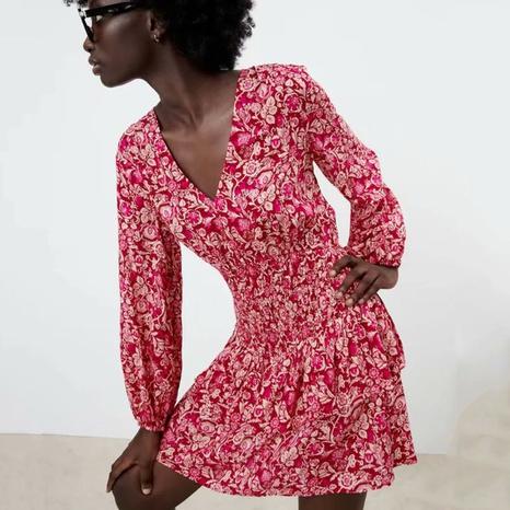 mini vestido con cuello en V estampado de moda vintage al por mayor nihaojewelry NHAM415288's discount tags
