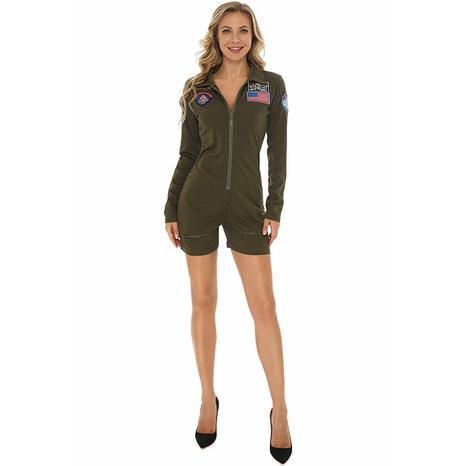 Fiesta de Halloween Cosplay Pilot Green One-Piece Front Zipper Body Venta al por mayor Nihaojewelry NHFE415683's discount tags