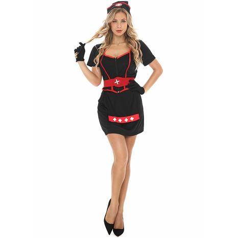 Halloween cosplay fantasma enfermera split negro atención médica cruz roja uniforme traje al por mayor nihaojewelry NHFE415689's discount tags