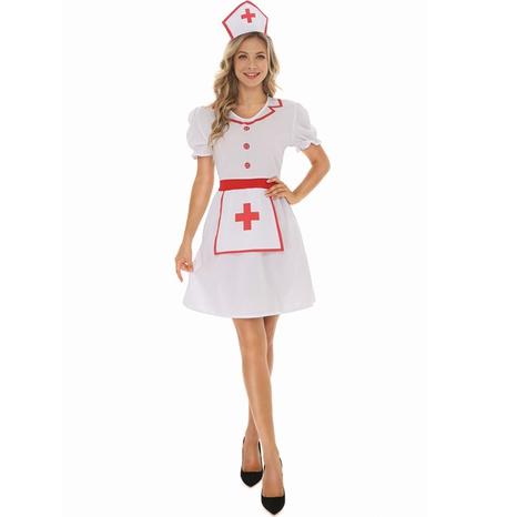 Halloween cosplay enfermera cruz roja de manga corta vestido blanco al por mayor nihaojewelry NHFE415694's discount tags