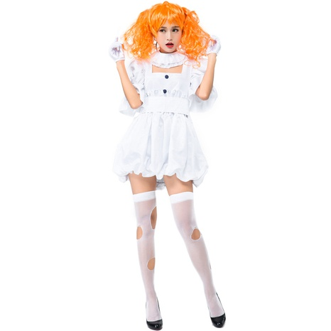 Halloween party cosplay ghost doll white clown costume wholesale nihaojewelry  NHFE422115's discount tags