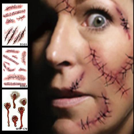 Halloween Tattoo Waterproof Scar Stitching Sticker wholesale Nihaojewelry NHFE422120's discount tags