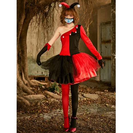 Halloween cosplay red black clown stitching dress wholesale nihaojewelry  NHFE422130's discount tags