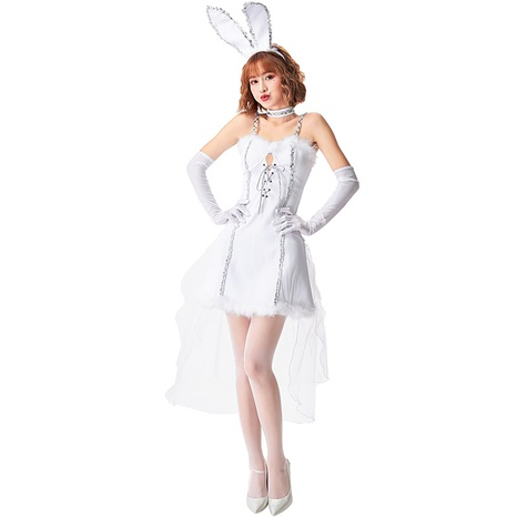 Halloween party costume open chest bunny girl white dress wholesale nihaojewelry  NHFE422132's discount tags