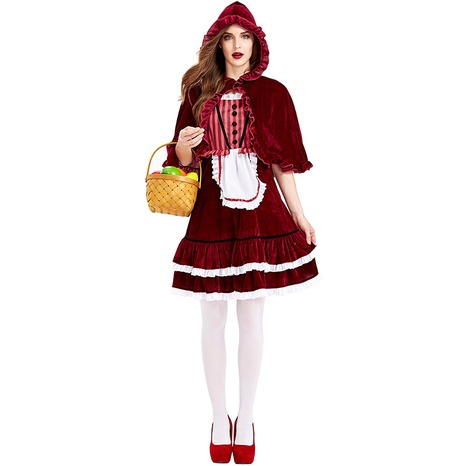 Halloween costume striped wine red lace shawl Little Red Riding Hood skirt wholesale nihaojewelry  NHFE422139's discount tags