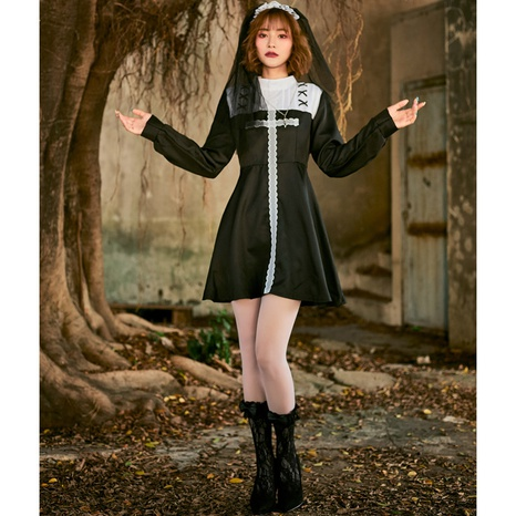 Halloween cosplay nun costume black white lace long-sleeved dress wholesale nihaojewelry  NHFE422142's discount tags
