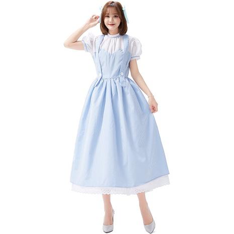 cosplay costume fairy tale grid farm girl long dress wholesale nihaojewelry  NHFE422146's discount tags
