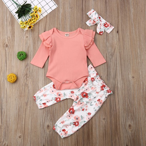 Baby One-Piece Romper Printed Pants Set wholesale Nihaojewelry NHLF422148's discount tags