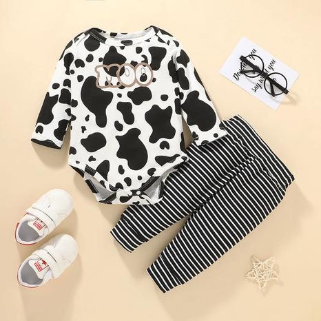 baby long-sleeved concealed buckle romper stripe pants set wholesale Nihaojewelry NHLF422150's discount tags