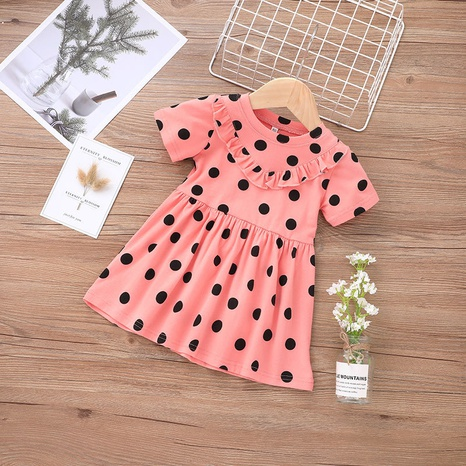 summer dots children's short-sleeved dress wholesale Nihaojewelry NHLF422151's discount tags