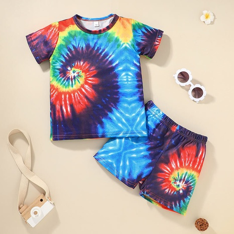 children's tie-dye round neck T-shirt shorts two-piece set wholesale Nihaojewelry NHLF422153's discount tags