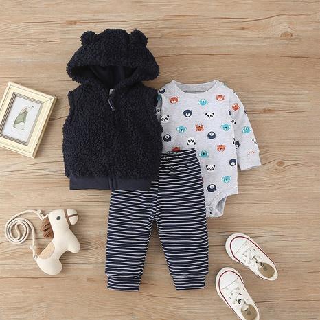 baby romper zipper sleeveless jacket stripe pants three-piece set wholesale Nihaojewelry NHLF422155's discount tags