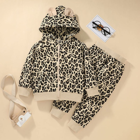 casual leopard print long-sleeved jacket pants two-piece set wholesale Nihaojewelry NHLF422156's discount tags