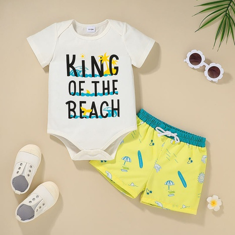 baby one-piece romper printed shorts two-piece set wholesale Nihaojewelry NHLF422157's discount tags