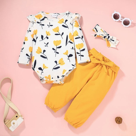 children's casual print romper solid color pants two-piece set wholesale Nihaojewelry NHLF422159's discount tags
