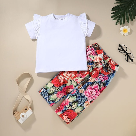 children's solid color T-shirt printed trousers two-piece set wholesale Nihaojewelry NHLF422160's discount tags