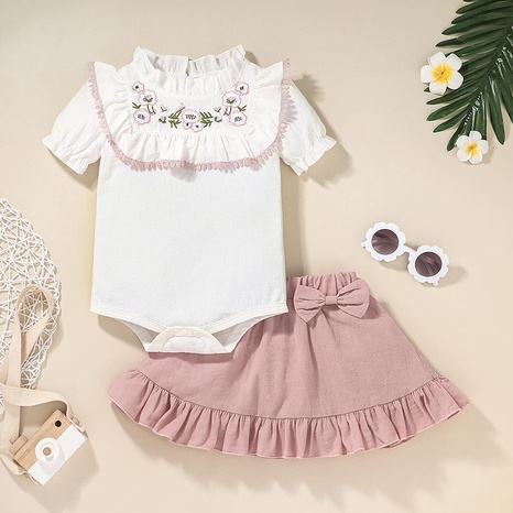 baby short sleeve romper pleated skirt two-piece set wholesale Nihaojewelry NHLF422161's discount tags