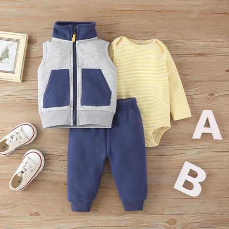 baby zipper jacket romper three-piece set wholesale Nihaojewelry NHLF422167's discount tags