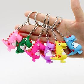 Creative cartoon PVC soft plastic small dinosaur keychain wholesale Nihaojewelry  NHYOU422321