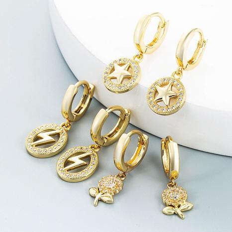 estrellas relámpago flor cobre con incrustaciones de zircon pendientes al por mayor nihaojewelry NHLN430185's discount tags