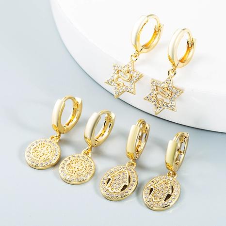 Atrapasueños huecos palma en forma de serpiente pendientes de circón con incrustaciones de cobre al por mayor nihaojewelry NHLN430179's discount tags