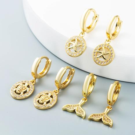 sirena hueca estrella de mar tortuga cobre con incrustaciones de zircon pendientes al por mayor nihaojewelry NHLN430169's discount tags