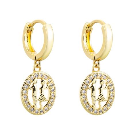 Pendientes de circón con incrustaciones de cobre colgante de niña de niño redondo hueco al por mayor nihaojewelry NHLN430166's discount tags