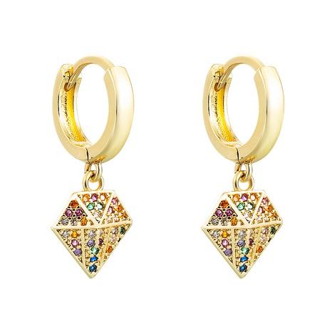 Colgante geométrico de color pendientes de circonita con incrustaciones de cobre al por mayor nihaojewelry NHLN430165's discount tags