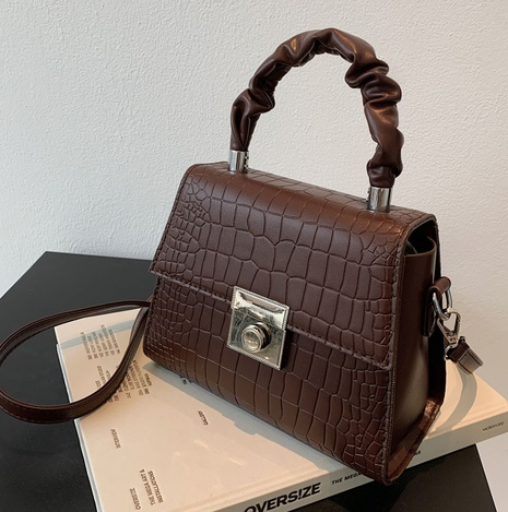 fashion retro solid color stone pattern lock wide chain messenger bag wholesale nihaojewelry NHLH422794's discount tags