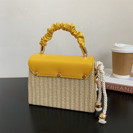 fashion contrast color hand-woven small square shoulder bag wholesale nihaojewelry NHLH422806's discount tags
