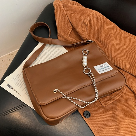 fashion retro solid color pearl chain shoulder bag wholesale nihaojewelry NHLH422816's discount tags