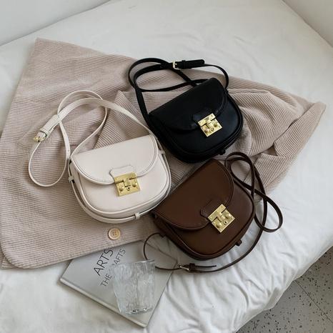 retro fashion solid color lock saddle handbag wholesale nihaojewelry NHLH422845's discount tags