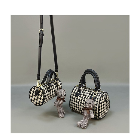fashion cylinder houndstooth messenger bag wholesale Nihaojewelry NHASB422893's discount tags
