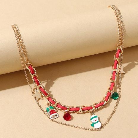 Mode Schneepuppe Glocke Anhänger geflochtene doppellagige Halskette Großhandel Nihaojewelry NHPS423491's discount tags