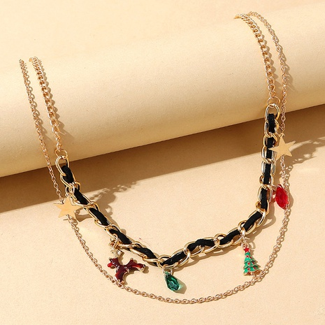 Weihnachten Rentier Weihnachtsbaum Anhänger doppellagige Halskette Großhandel Nihaojewelry NHPS423489's discount tags