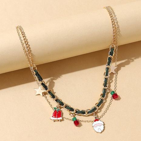 Weihnachtsmann Weihnachtsglocke hängende Legierung doppellagige Halskette Großhandel Nihaojewelry NHPS423415's discount tags
