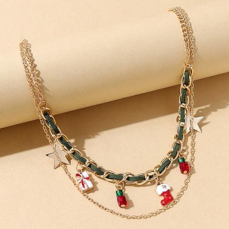 Mode trendige Weihnachtsstiefel Legierung Doppelhalskette Großhandel Nihaojewelry NHPS423413's discount tags