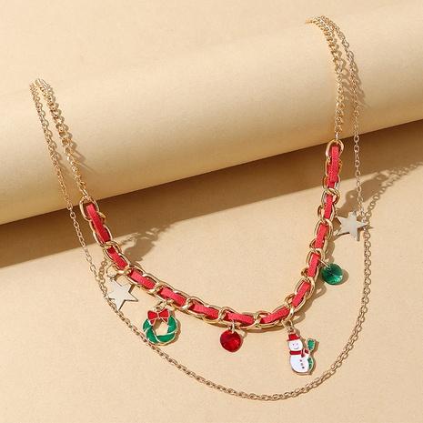 Mode Schneepuppe Weihnachtskranz hängende doppellagige Halskette Großhandel Nihaojewelry NHPS423411's discount tags