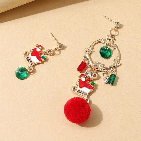 Mode Santa Schlitten asymmetrische flauschige Ohrringe Großhandel Nihaojewelry NHPS423410's discount tags