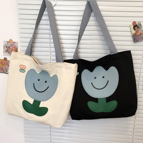 simple contrast color flower printing large capacity canvas bag wholesale Nihaojewelry  NHJZ422961's discount tags