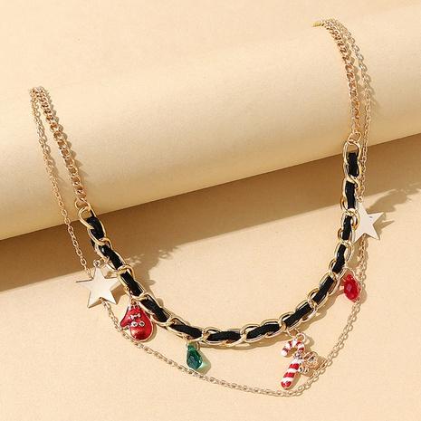 Weihnachtsserie kreative Handschuhe doppellagige Halskette Großhandel Nihaojewelry NHPS423406's discount tags