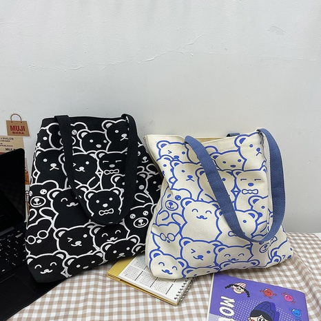 new cute bear printing one-shoulder canvas bag wholesale Nihaojewelry  NHJZ422968's discount tags