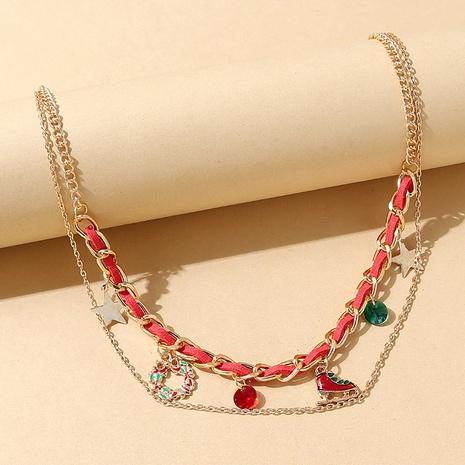 kreativer Weihnachtskranz hängende doppellagige Halskette Großhandel Nihaojewelry NHPS423405's discount tags