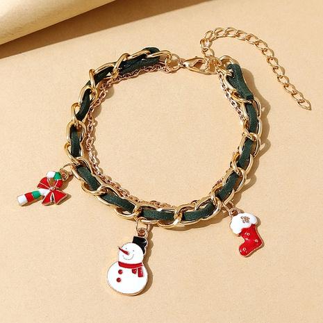 kreative Mode Weihnachtsschneepuppe grün geflochtenes Armband Großhandel Nihaojewelry NHPS423404's discount tags