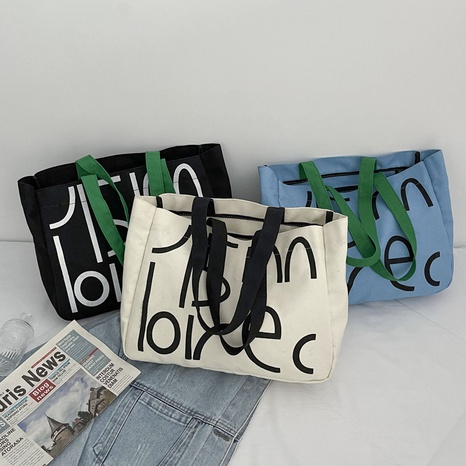 new simple casual large-capacity shoulder canvas bag wholesale Nihaojewelry  NHJZ422980's discount tags