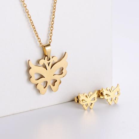 Einfache hohle Schmetterlingsschlüsselbeinkette Ohrringe Set Großhandel Nihaojewelry NHON423961's discount tags